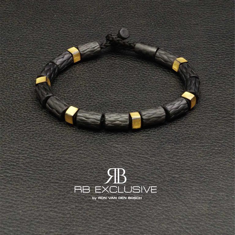 Carbon Goud armband GOLD collectie G3 – RB EXCLUSIVE handgemaakte carbon sieraden en accessoires van Nederlandse bodem