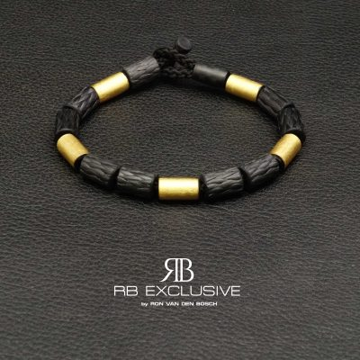 Carbon armband met goud model G4 by RB EXCLUSIVE