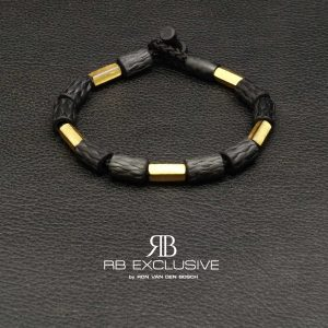 Carbon armband met goud model G1 by RB EXCLUSIVE
