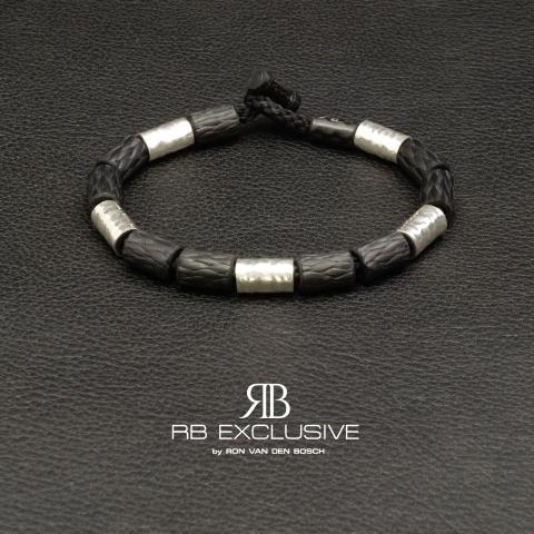 Carbon Zilver armband Style collectie 1 – RB EXCLUSIVE handgemaakte carbon sieraden en accessoires van Nederlandse bodem