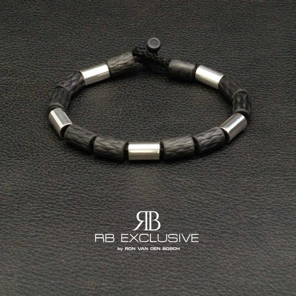 Carbon Zilver armband Style collectie model 3 – RB EXCLUSIVE handgemaakte carbon sieraden en accessoires van Nederlandse bodem