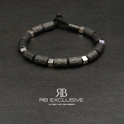 Carbon Zilver armband Style collectie model 4 – RB EXCLUSIVE handgemaakte carbon sieraden en accessoires van Nederlandse bodem