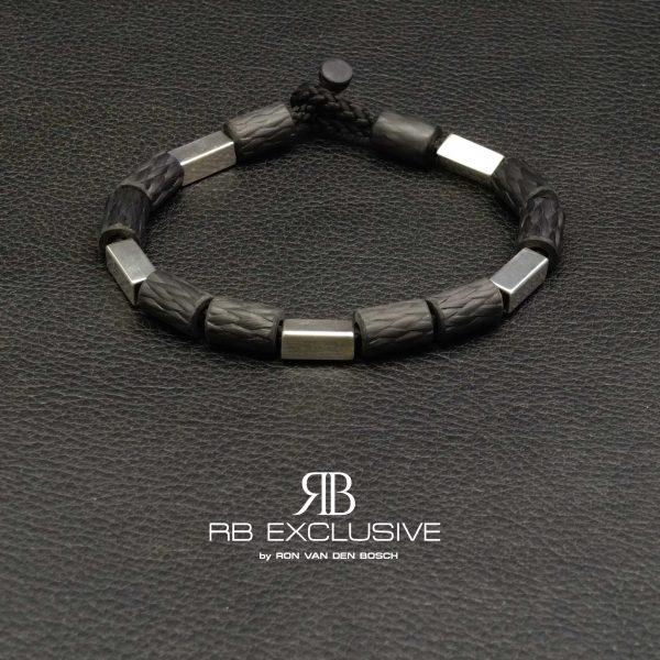 Carbon Zilver armband Style collectie model 5 – RB EXCLUSIVE handgemaakte carbon sieraden en accessoires van Nederlandse bodem