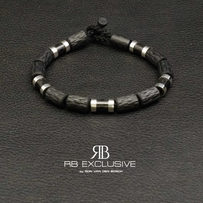 Carbon armband met zilver by RB EXCLUSIVE