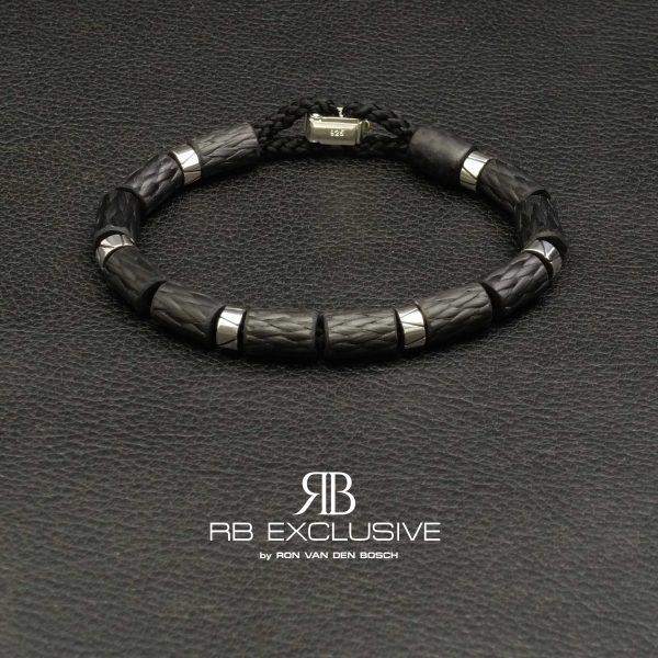 Carbon Zilver armband Style collectie model 7 – RB EXCLUSIVE handgemaakte carbon sieraden en accessoires van Nederlandse bodem