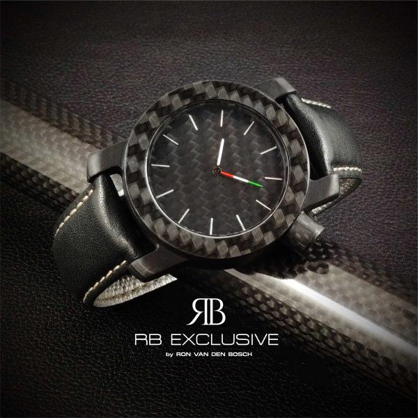 Carbon horloge Tricolore by RB EXCLUSIVE