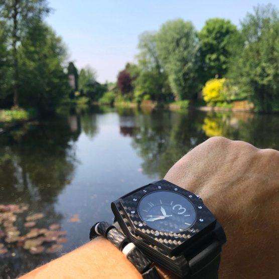 Carbon horloge met carbon armband model Bianco by RB EXCLUSIVE