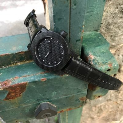 Carbon horloge met diamant by RB EXCLUSIVE
