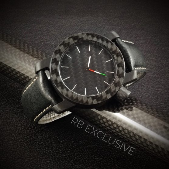 Carbon horloge model Tricolore by RB EXCLUSIVE