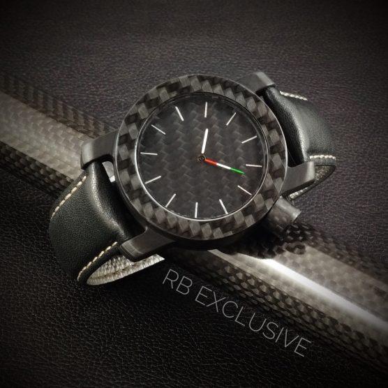 Carbon horloge model Tricolore by RB EXCLUSIVE