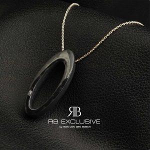 Diamant sieraad hanger model Ovale met zilveren collier by RB EXCLUSIVE