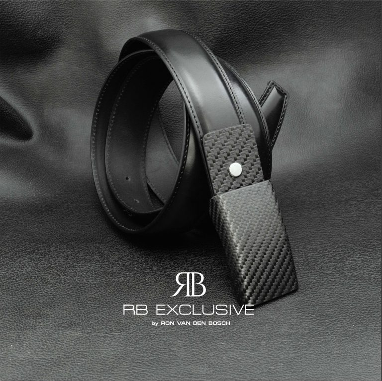 Lederen riem met handgemaakte carbon gesp – verwisselbaar leder gedeelte-RB EXCLUSIVE 1