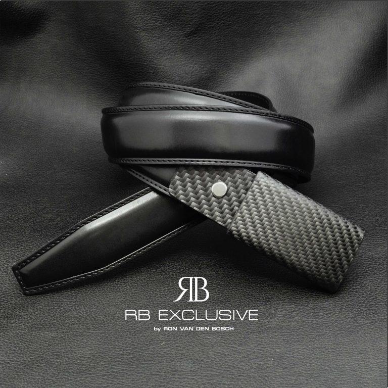 Lederen riem met handgemaakte carbon gesp - verwisselbaar leder gedeelte-RB EXCLUSIVE
