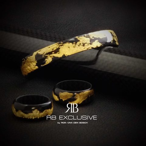 Carbon Goud Armband Oro Speciale met ringen by RB EXCLUSIVE
