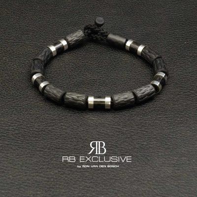 Carbon Zilver armband Style collectie model 6 – RB EXCLUSIVE handgemaakte carbon sieraden en accessoires van Nederlandse bodem
