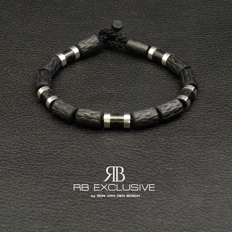 Carbon Zilver armband Style collectie model 6 - RB EXCLUSIVE handgemaakte carbon sieraden en accessoires van Nederlandse bodem