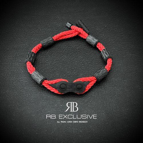Carbon armband Catena Rosso