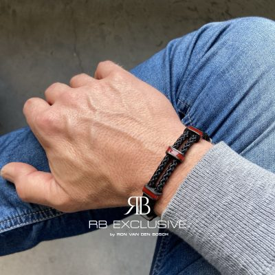 Carbon armband Monza Rosso by RB EXCLUSIVE