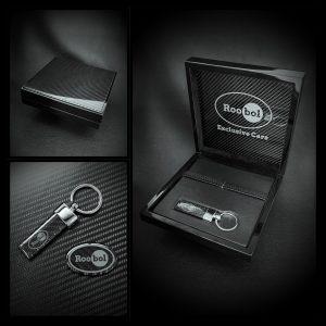 Roobol Exclusive Cars box sleutelhanger en logo plaatje