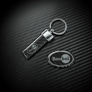 Roobol Exclusive Cars carbon sleutelhanger en logo plaatje